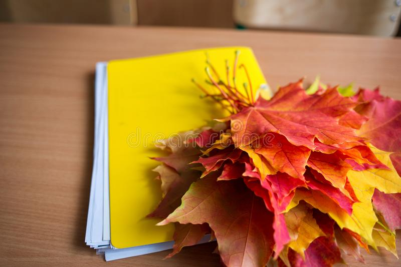 School classroom. notebook and bouquet of autumn maple leaves on the table. concept: back to school, teacher`s day. School classroom in blur background without stock photo