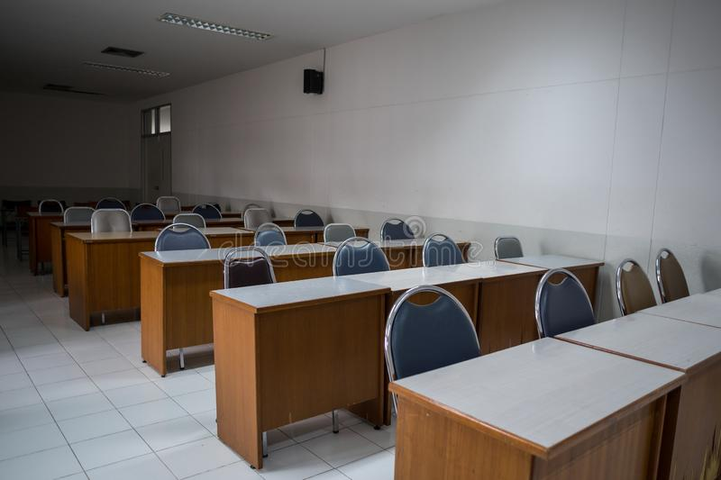 School classroom with window opened, clean and tidy ready for new students and semester start royalty free stock photo