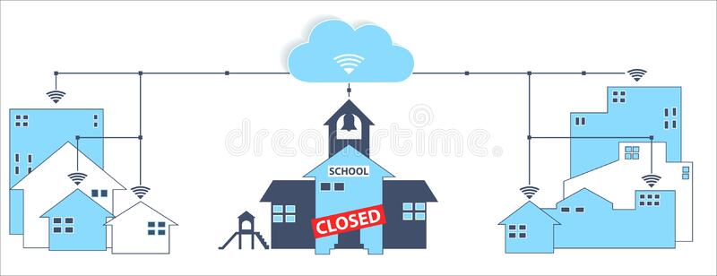 School Closed Remote Learning At Home For Covid19 Coronavirus Isolation Lockdown Stock Vector Illustration Of Icon Lockdown 176316788