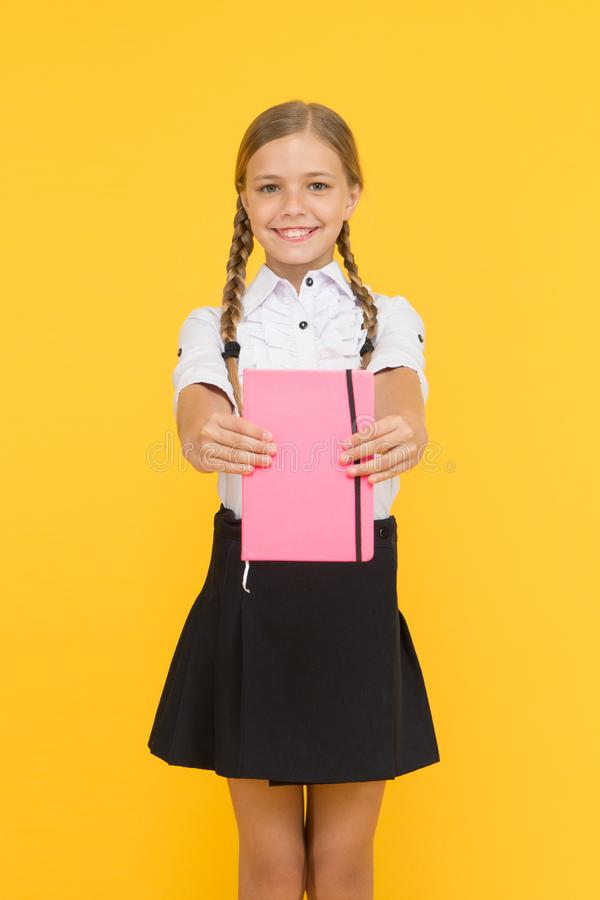 School club after classes. Study foreign language. Essay for homework. KId girl student likes to study. Study literature. Private lesson. Adorable child royalty free stock photo