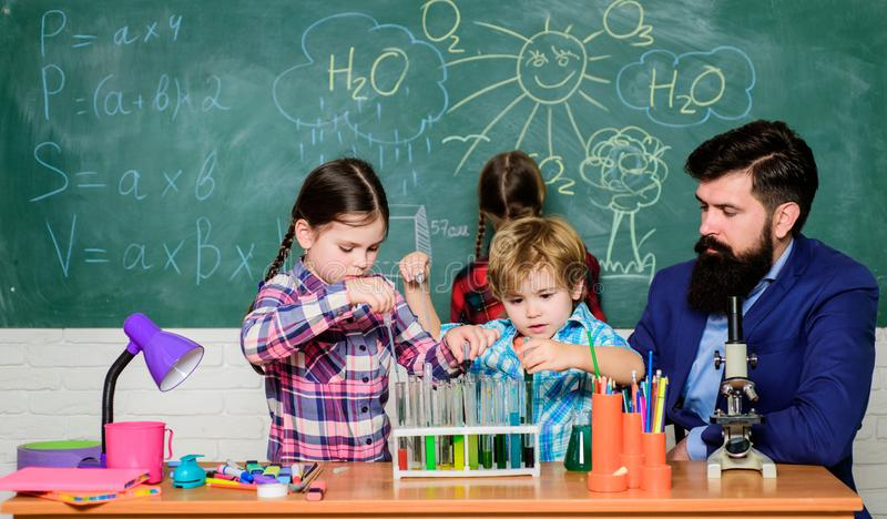 School club education. Chemistry themed club. Discover and explore properties of substances together. Interests and stock photos
