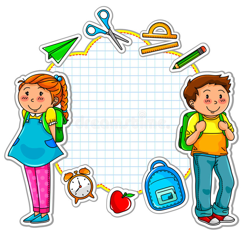 School collection. School kids and a set of school related items stock illustration