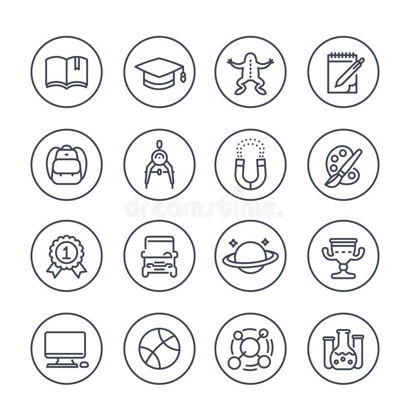 School and college line icons stock illustration