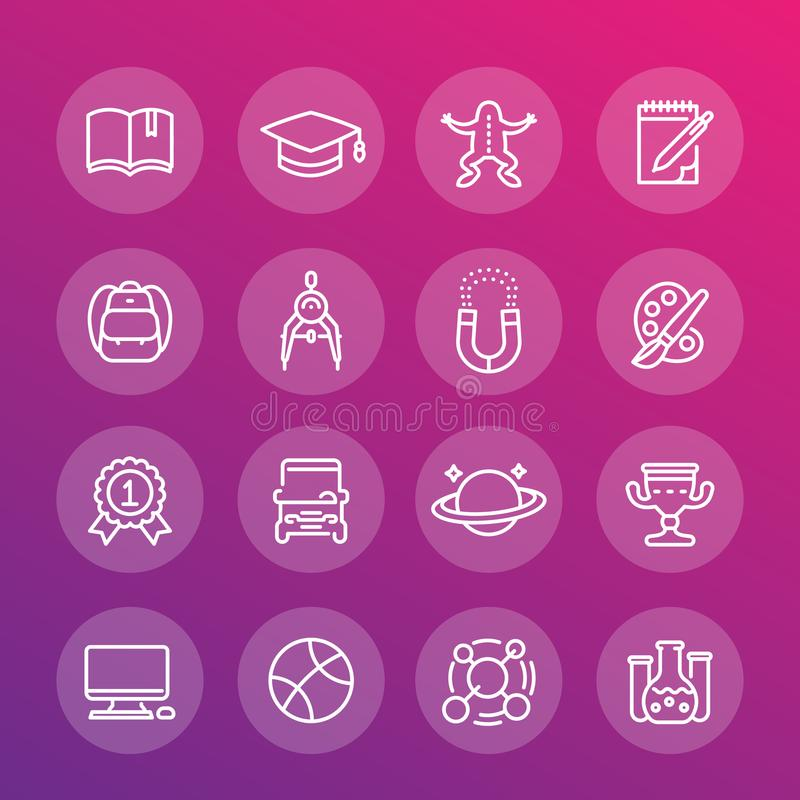 School and college, education line icons set stock illustration