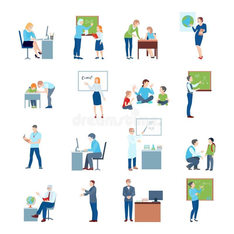School College Teacher Flat Icons vector illustration