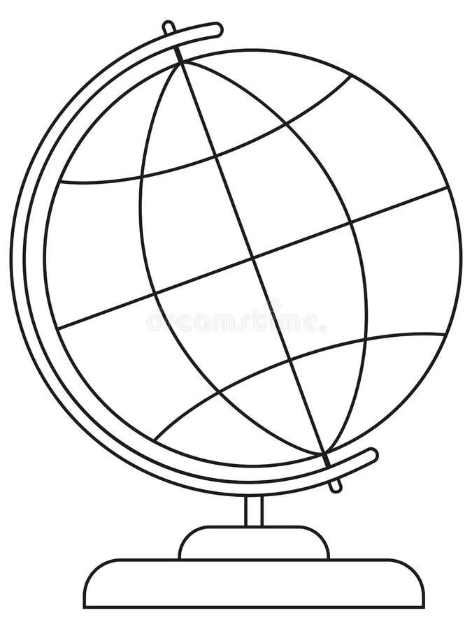 School college university line art icon poster globe. stock illustration