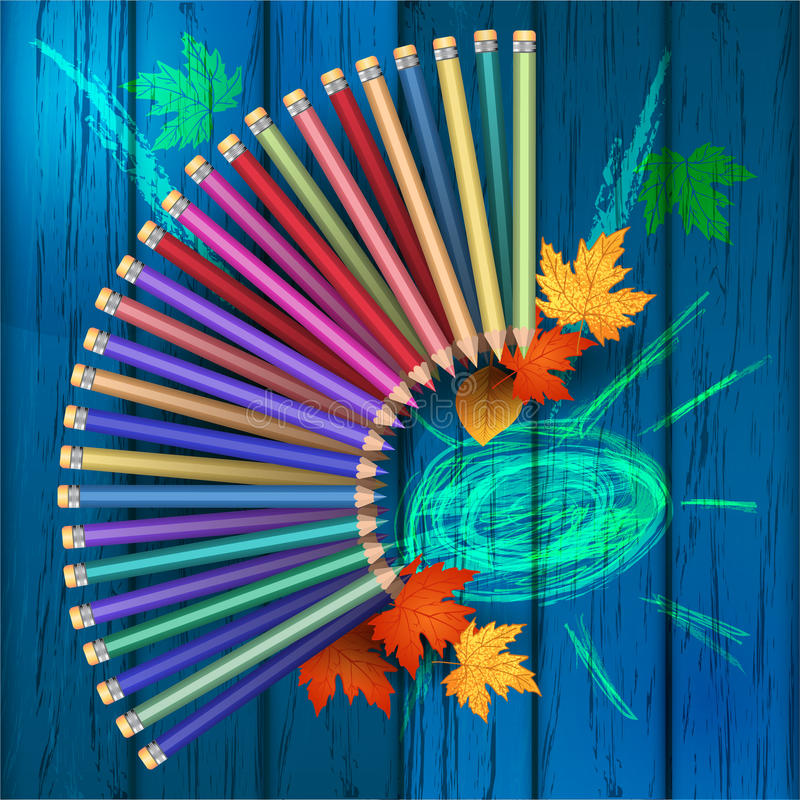 School. Colored pencils on a wooden texture. Blue color. Autumn leaves. Set of colored pencils. School supplies. Imitation of children`s drawing. Vector stock illustration