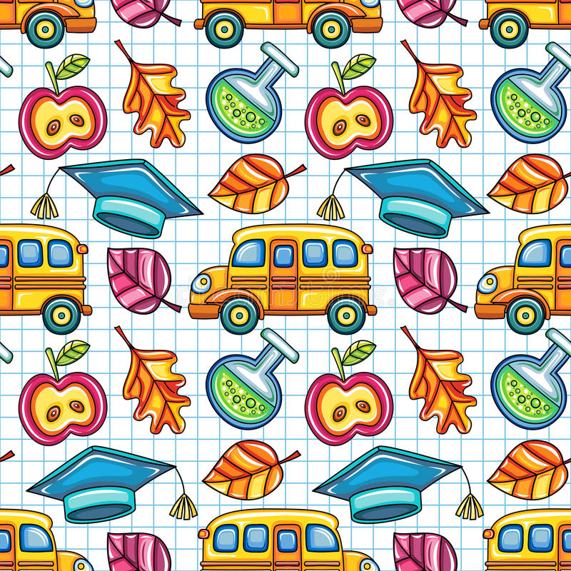 School colorful seamless vector pattern stock illustration