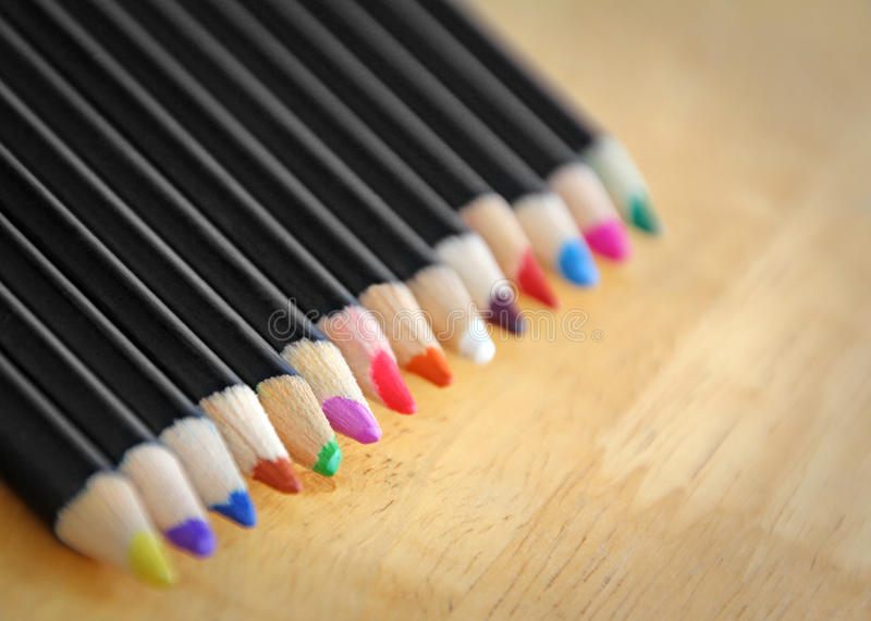 School coloured pencils stock images
