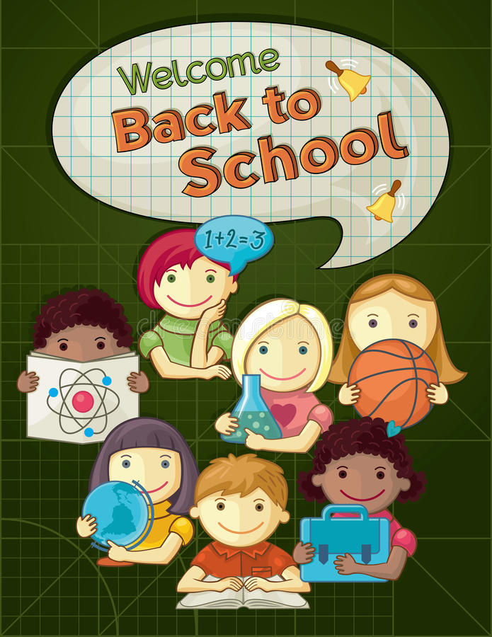 Download School Concept Illustration With Cute Kids Stock Vector - Image: 32291446