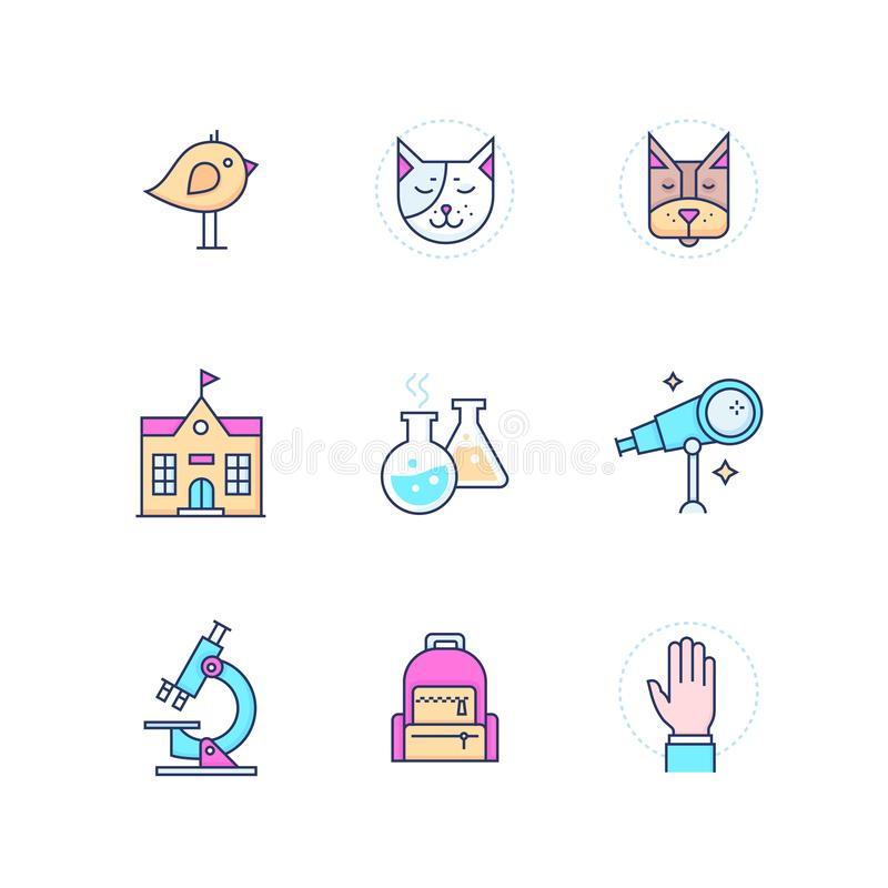 School concepts - modern line design style icons set royalty free illustration