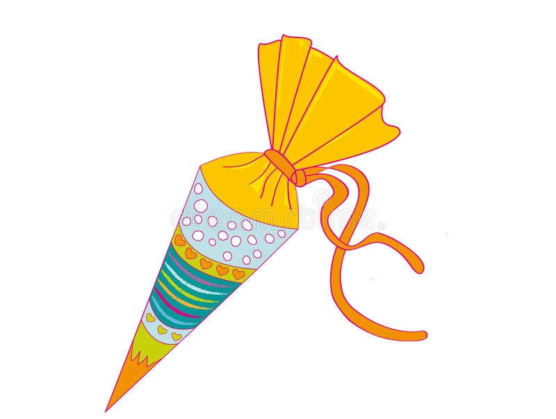 School Cornet. Large cornet of cardboard filled with sweets and little presents given to children in Germany on their first day at school royalty free illustration