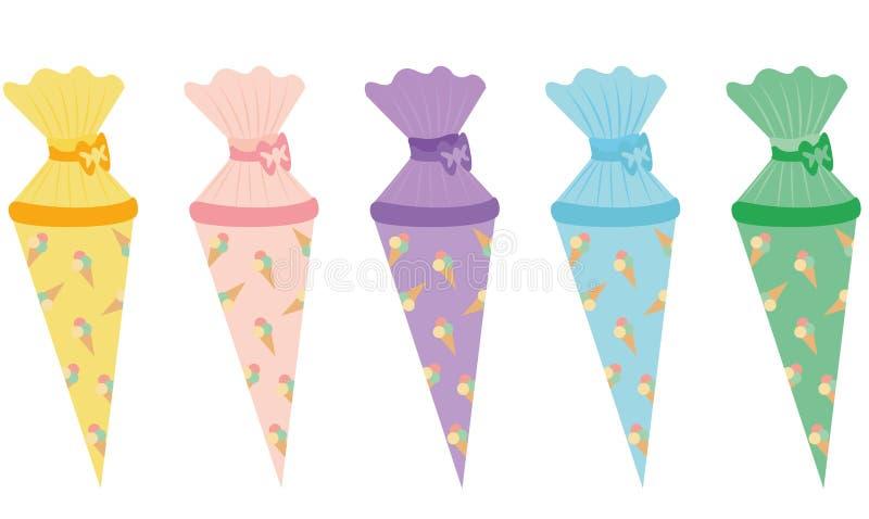 School cornet vector - ice cream pattern in different isolated on white background. School cornet vector - ice cream pattern in different colors, yellow, rosa stock illustration