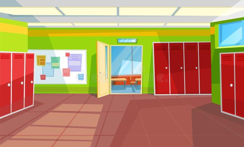 School Corridor Classroom Interior Style Hallway royalty-vrije illustratie