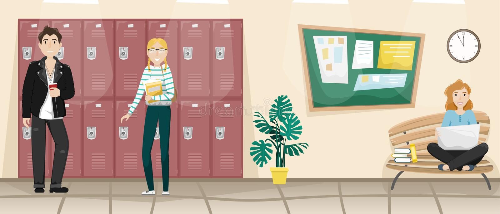 School corridor with lockers for books and clothes. Blackboard for school announcements. Students at recess. Flat vector isolated illustration vector illustration