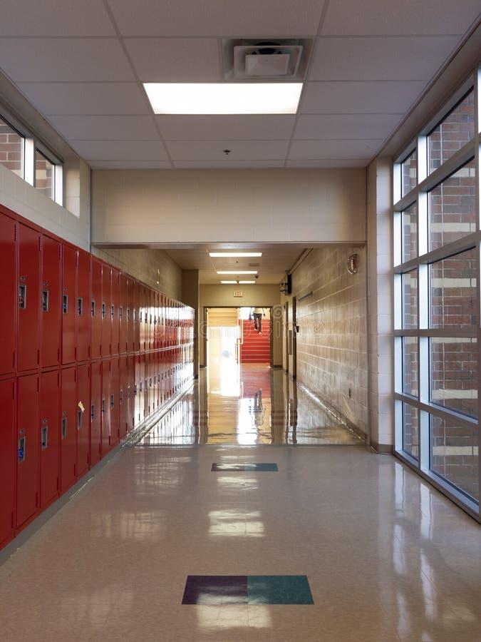 A school corridor lockers stock photos