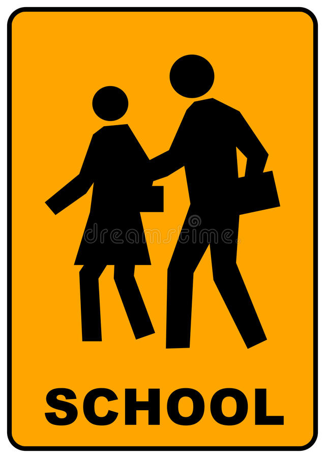 Download School crossing sign stock illustration. Image of caution - 12130823