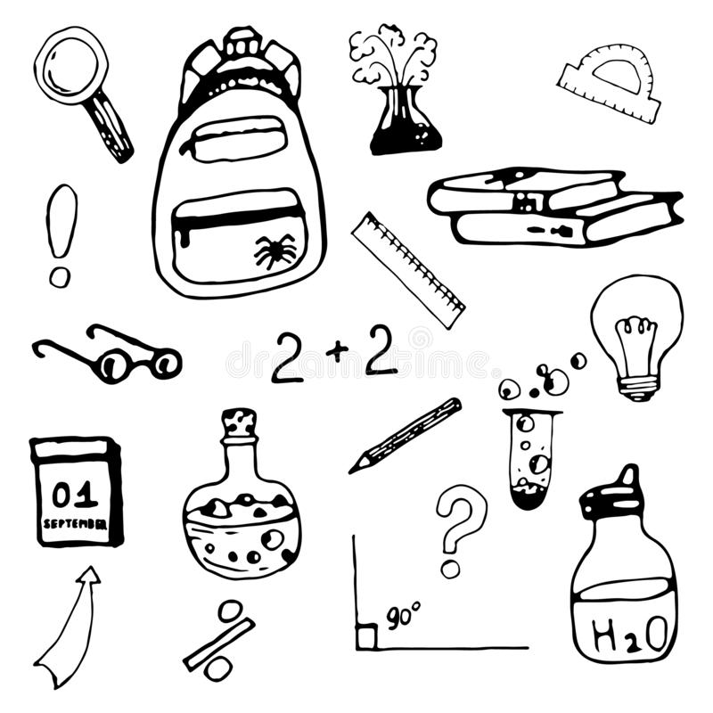 School cute doodle set for boy with backpack, glasses, beakers for chemistry lesson, calendar, magnifier. vector illustration