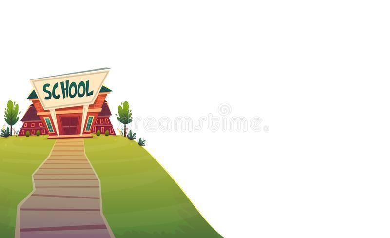 School . day of knowledge funny cartoon background , warm autumn education card cover in red green bright colours isolated on whi royalty free illustration