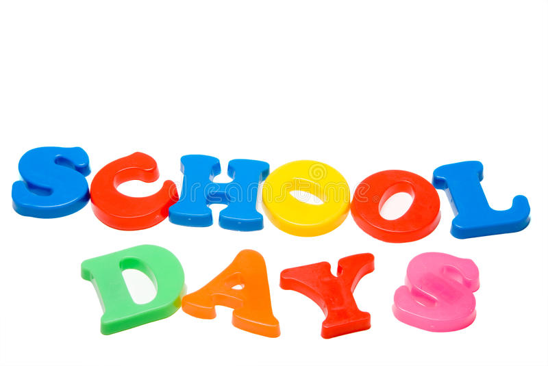 School Days. Magnetic letters that spell out the words School Days stock photo