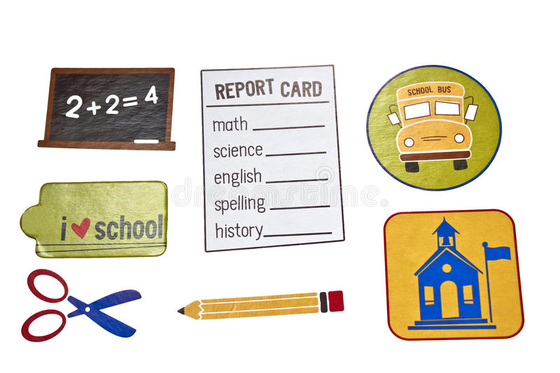 School Days elements. Various school elements in a collage royalty free stock photo