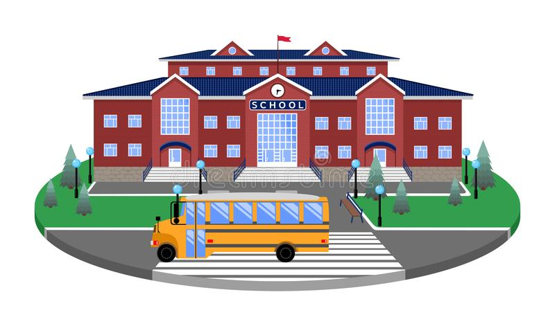 School, de klassieke bouw op het cirkelplatform van het gazon aan de weg, voetgangersoversteekplaats, met 3D effect sectie vector illustratie