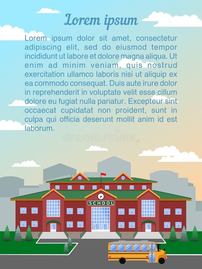 school, de klassieke bouw, tegen de stad en de hemel Het beeld van een verticaal formaat met steekproeftekst vector illustratie