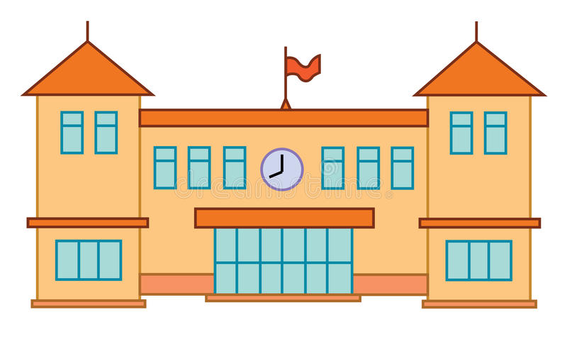 School of de universitaire bouw Vector vlak onderwijsconcept beeldverhaal vector illustratie