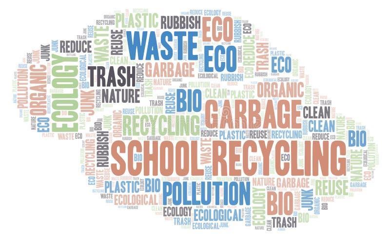 School de wolk van het Recyclingswoord royalty-vrije illustratie