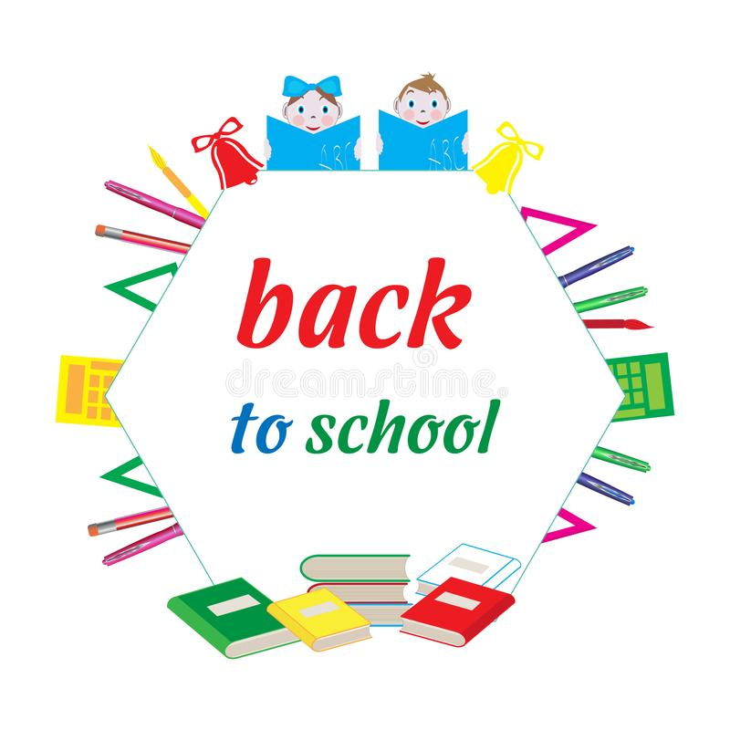 School design, badge, sticker, with school supplies stock images