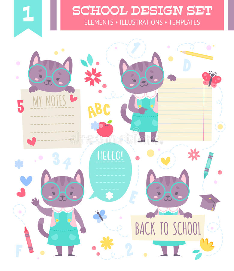 School design set with cartoon character. School design set with cute cartoon cat girl character and note stickers for children apparel and web templates royalty free illustration