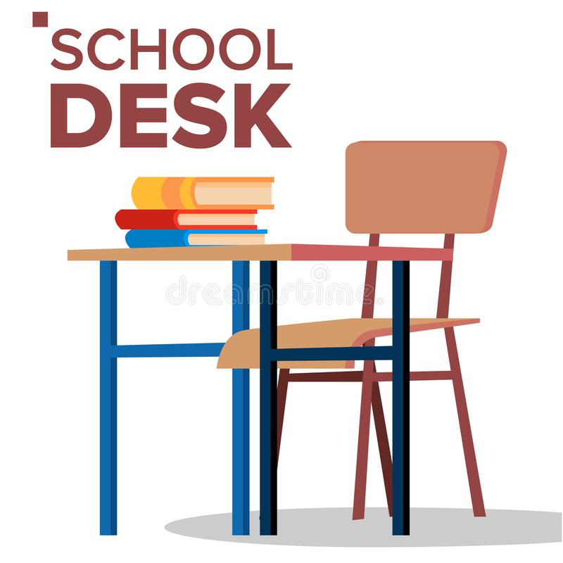 School Desk, Chair Vector. Classic Empty Wooden School Furniture. Isolated Flat Cartoon Illustration. School Desk, Chair Vector. Classic Empty Wooden School stock illustration