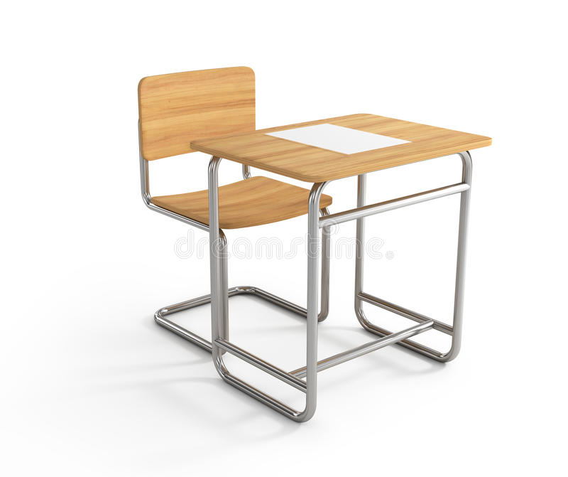 School desk and chair. On white background vector illustration