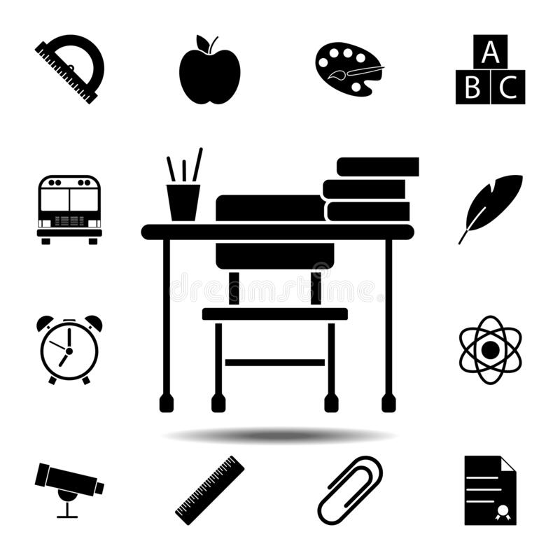 School desk icon. Simple glyph vector element of education set icons for UI and UX, website or mobile application. On white background stock illustration