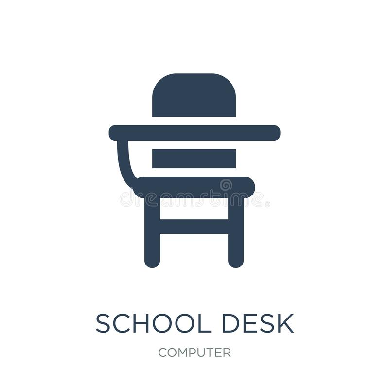 School desk icon in trendy design style. school desk icon isolated on white background. school desk vector icon simple and modern. Flat symbol for web site vector illustration