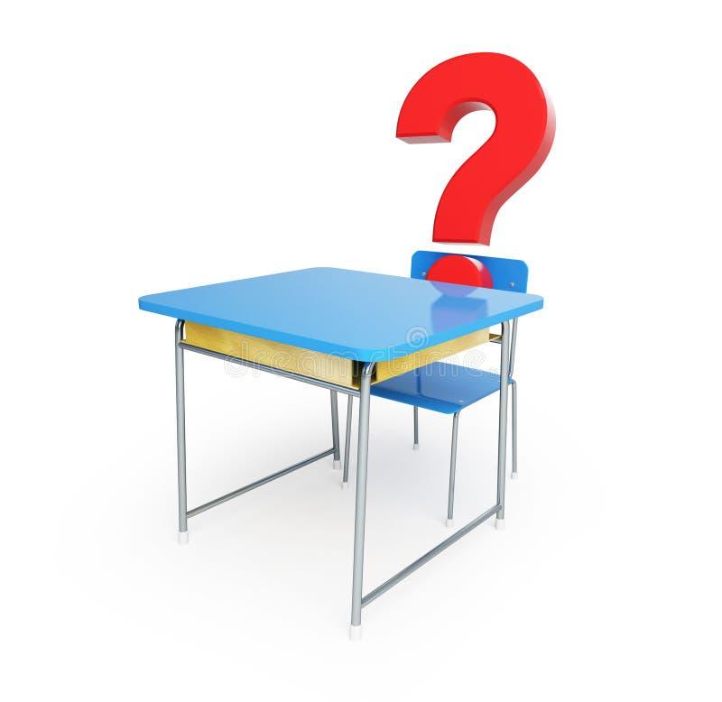 School Desk Question Mark 3d Illustrations Royalty Free Stock Image