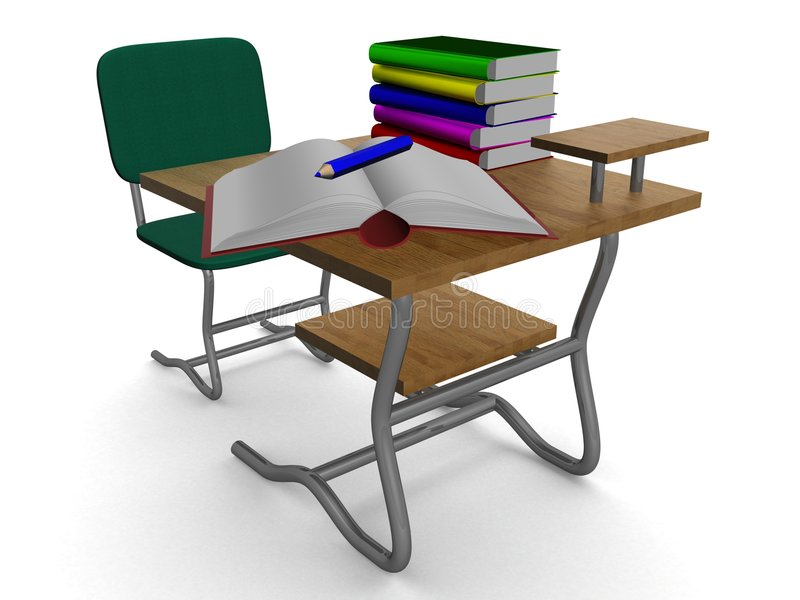 School desk with textbooks and a pencil. vector illustration