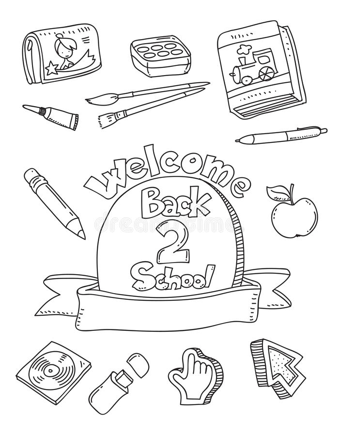 School doodles. School supplies doodles coloring book stock illustration