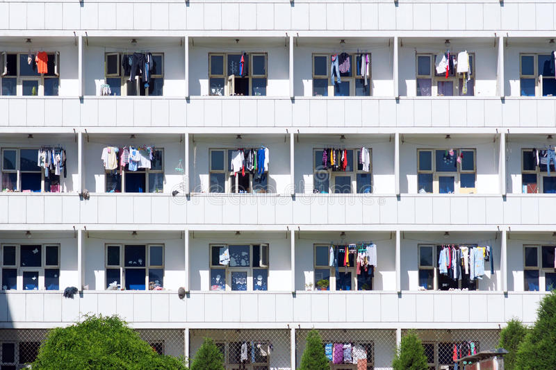 School dormitory. The clothes are airing at school dormitory royalty free stock photos