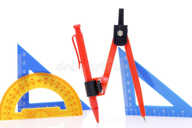 School drawing tools. Compass, triangle royalty free stock photo