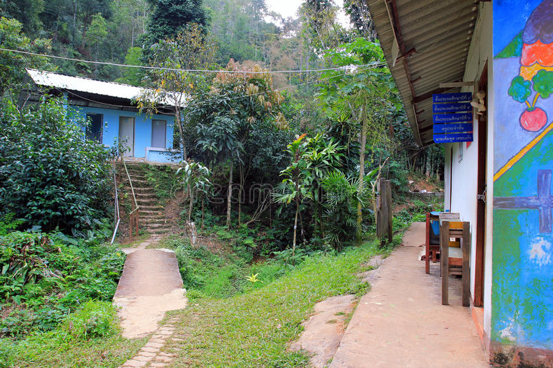School in East asia village in forest of Thailand. School in Karen ethnie village located within the jungle forest of Chiang Mai province , Thaïland, East stock photos