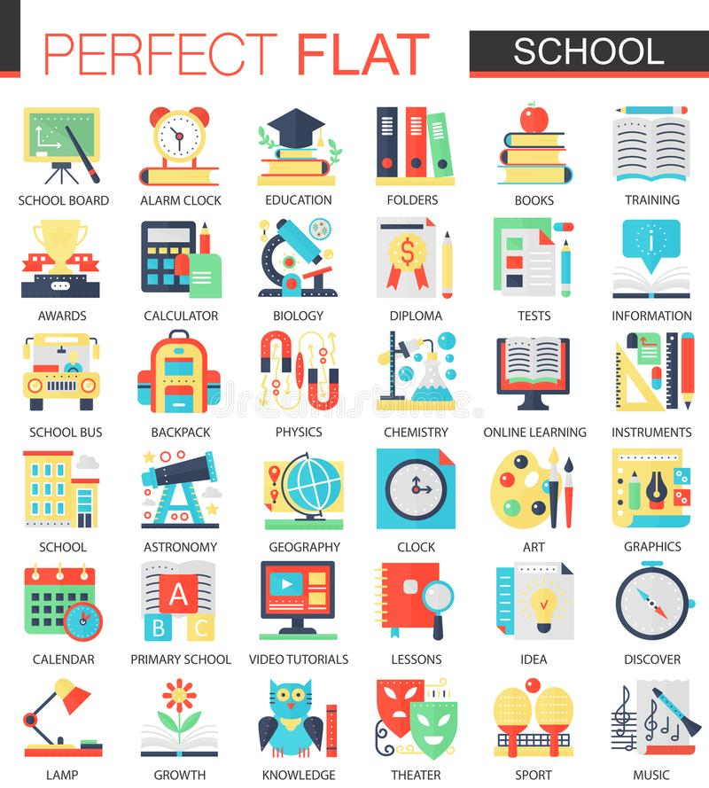 School Edication Vector Complex Flat Icon Concept Symbols For Web