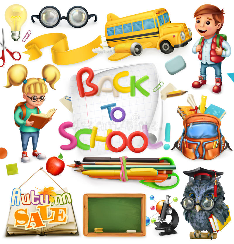 School and education. Back to school. Vector icon set. School and education. Back to school. 3d vector icon set stock illustration