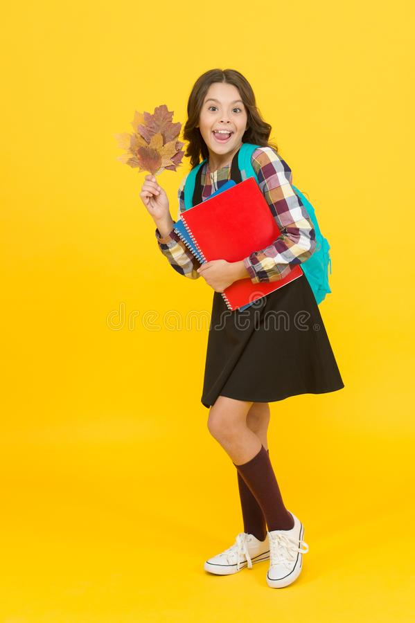 School education concept. Girl enjoying autumn season. Back to studying. Little schoolgirl with school books backpack stock photos