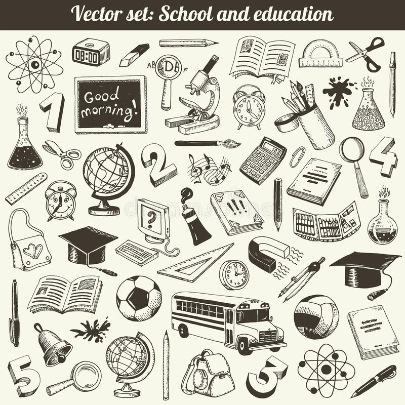 School And Education Doodles Vector royalty free stock images