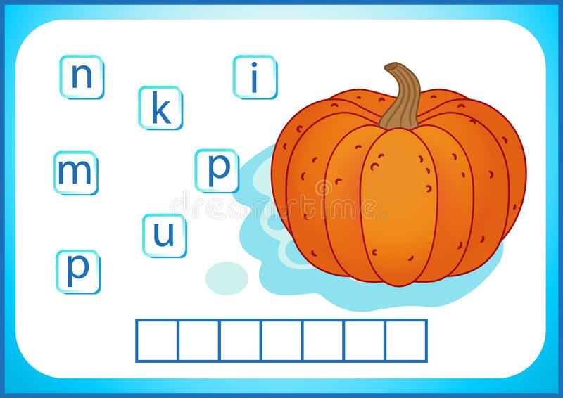 School education. English flashcard for learning English. We write the names of vegetables and fruits. Words is a puzzle game for. English flashcard for learning royalty free illustration