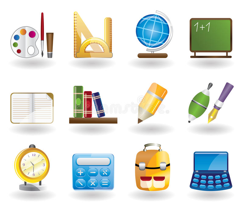 School and education icon set stock illustration