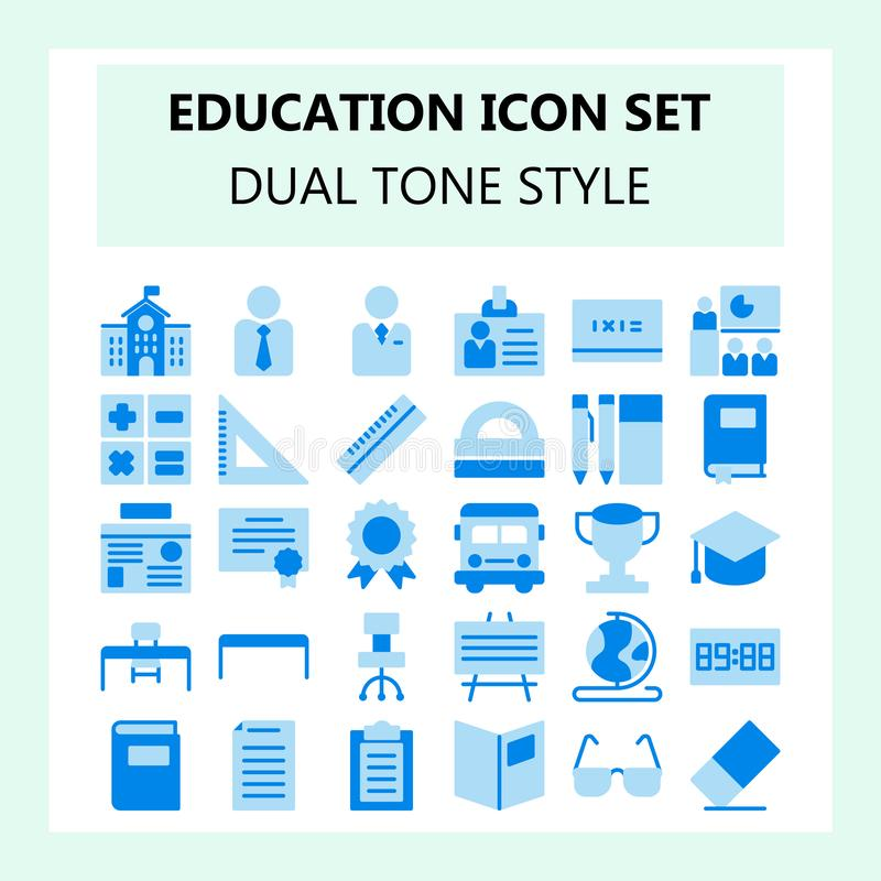School and Education icon set, dual tone blue color in flat design vector illustration