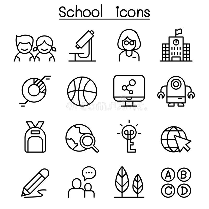 School & Education icon set in thin line style. Vector illustration graphic design vector illustration