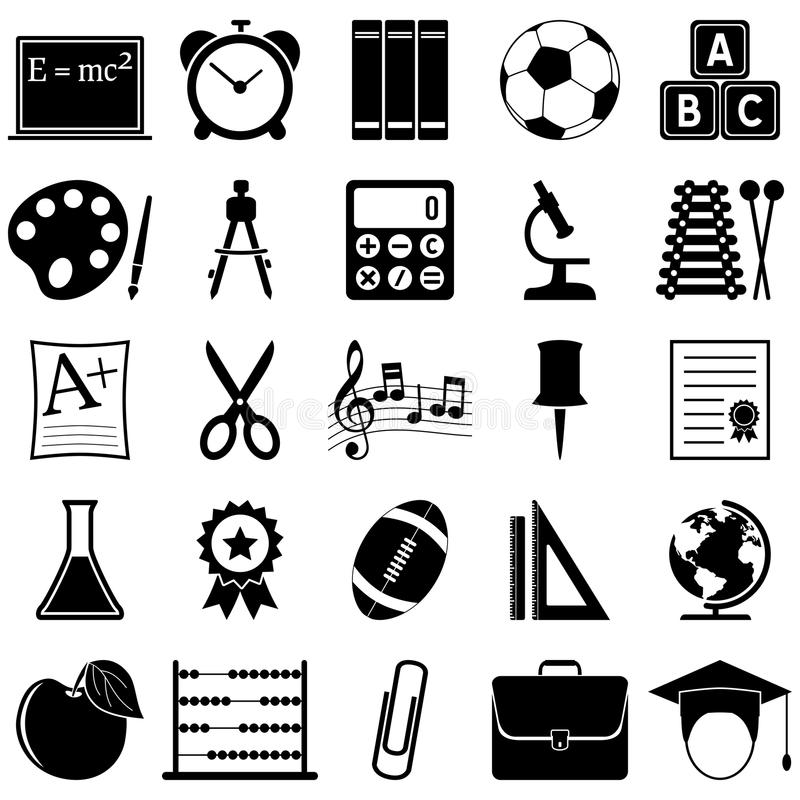 School and Education Icons. Collection of 25 black and white school and education icons, isolated on white background. Eps file available royalty free illustration